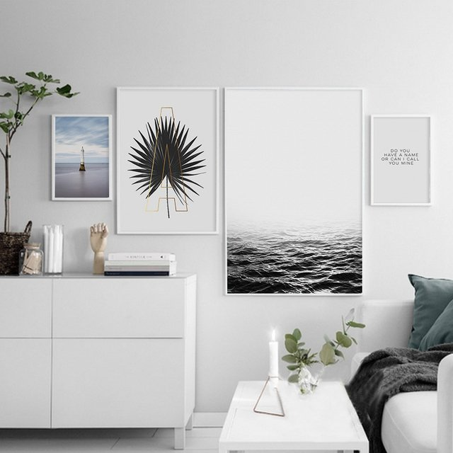 NUOMEGE The Sea Lighthouse Minimalist Canvas Poster Painting Modern Picture Print Home Office Room Decoration