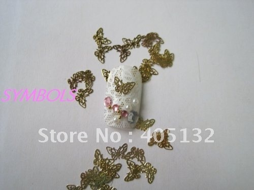 MS-41 Free Shipping Metal Gold Butterfly Nail Art Metal Sticker Nail Art Decoration Fancy Outlooking