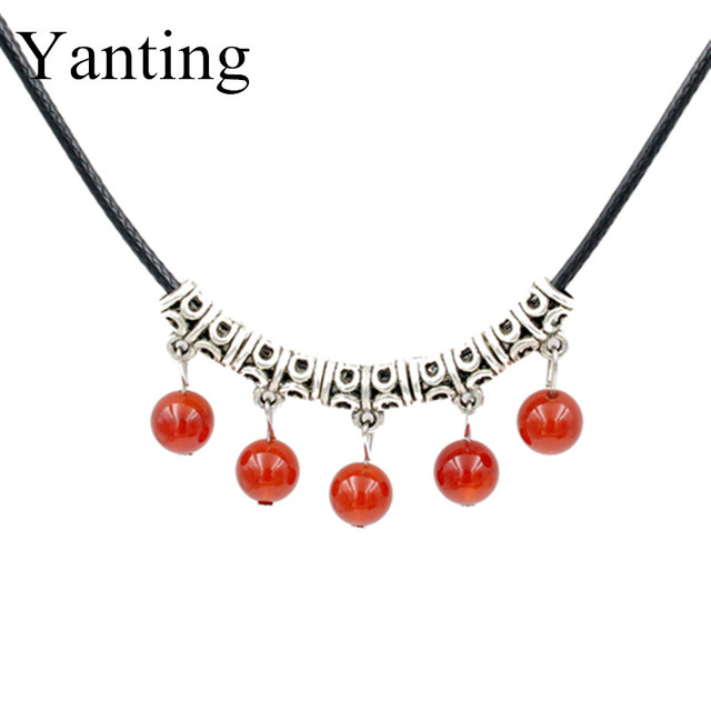 Yanting new arrival red black natural onyx choker necklaces for women Tibetan Ancient color style long chain with pendant  0655