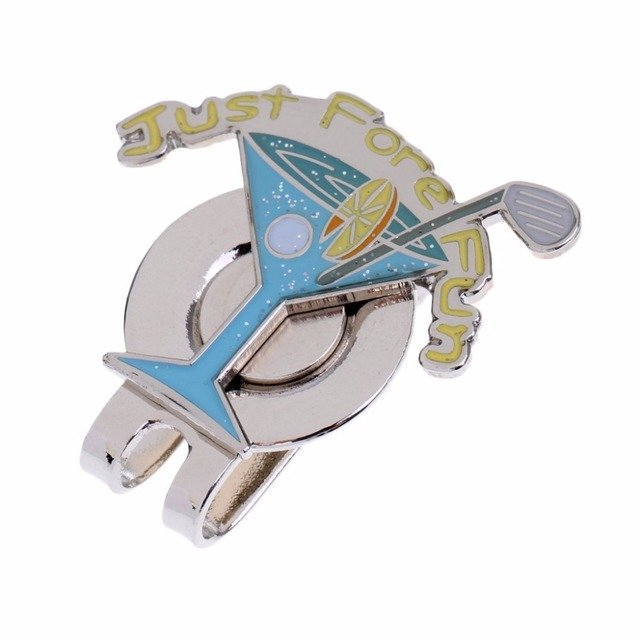 GOG 1pcs Golf Ball Markers with Magnetic Hat Clip Assorted Patterns Lightweight Strong Alloy 1 blue Wine glass