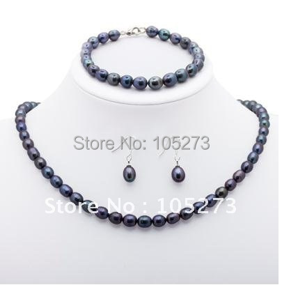 Stunning!Christmas pearl jewelry set AA 7-8mm Black color Genuine freshwater pearl Fashion jewelry free shipping NF87