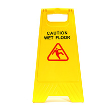 New Yellow Caution Wet Floor Sign Safety Cleaning Slippery Both Sided Triangle Warning Sign Tool