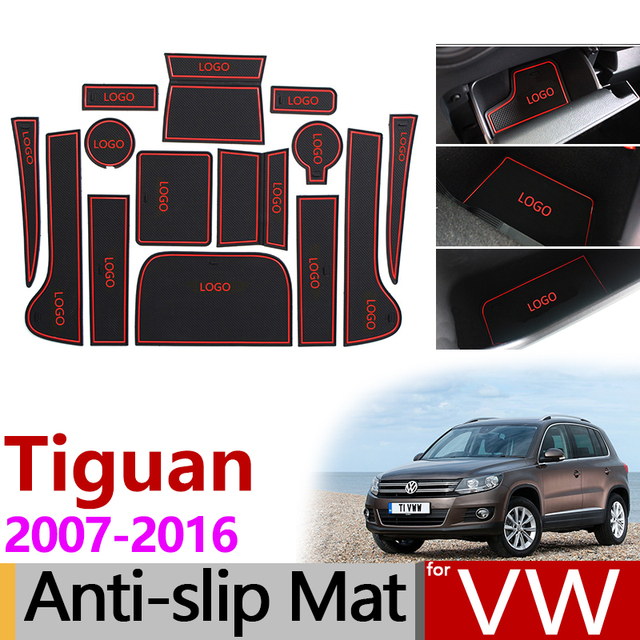 Anti-Slip Gate Slot Mat Rubber Coaster for VW Tiguan 2007 2008 2009 2010 2011 2012 2013 2014 2015 2016 Volkswagen Accessories