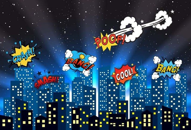 Photography Backdrops Vinyl Photo Backgrounds Super City Heroes Comics Baby Newborn Child Wedding studio props backdrop G-156