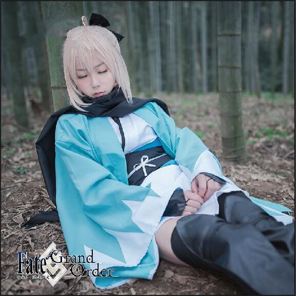 Cos Japanese  Fate/Grand Order Okita Souji  Cosplay Costume Sakura Saber Cosplay Kimono Blue Cosplay Costume