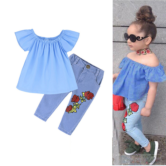 2PCS Toddler Kids Baby Girls Clothing Set Off Shoulder T-shirt Tops + Rose Denim Pants Jeans Children Girls Summer Clothes Suits