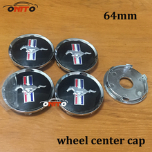 Wholesale Free Shipping 100pcs 64mm Wheel Dust-proof emblem covers for mustang logo car styling