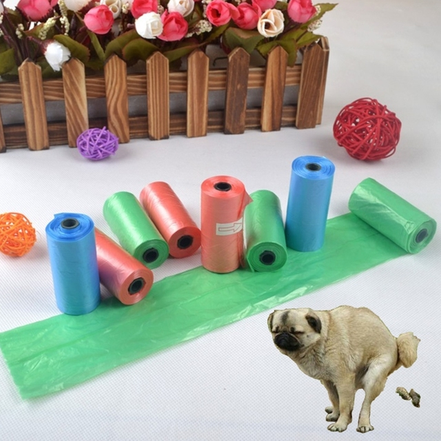15pcs/roll Dog Cat Poop Bag Degradable Pet Garbage Bag Suitable for All Pets Outdoor Home Cleaning Bag Random Color