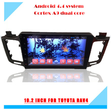 10 inch resolution 1024*600 capacitive touch screen android 4.4 car dvd player for toyota RAV4 2013 2014
