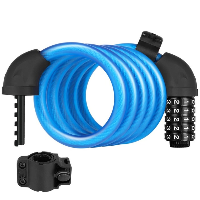 Bike Lock with 5-Digit Resettable Number, 180cm/12mm Heavy Duty Chain Lock, Combination Cable Lock For Bicycle