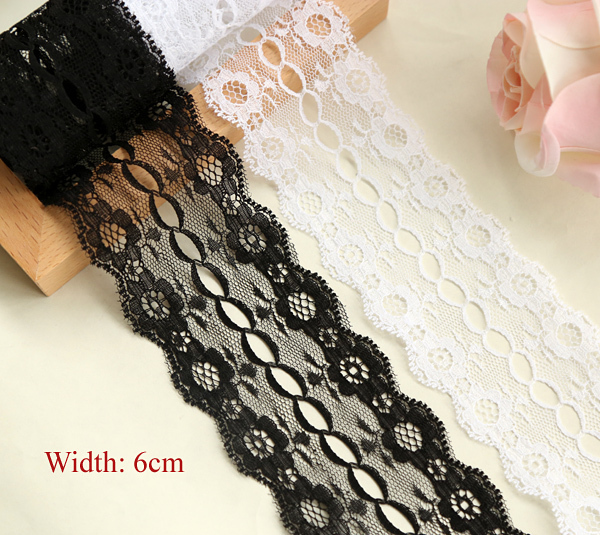 1 yard Fantastic lace with ribbon hole, white/ black lace,DIY embroidery lace (ss-303-616)