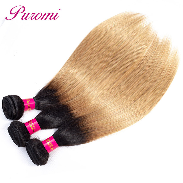 Puromi Hair Honey Blonde Bundles Ombre 27 Brazilian Hair Weave Bundles Non Remy Human Hair 3 Bundles Straight Hair Double Weft