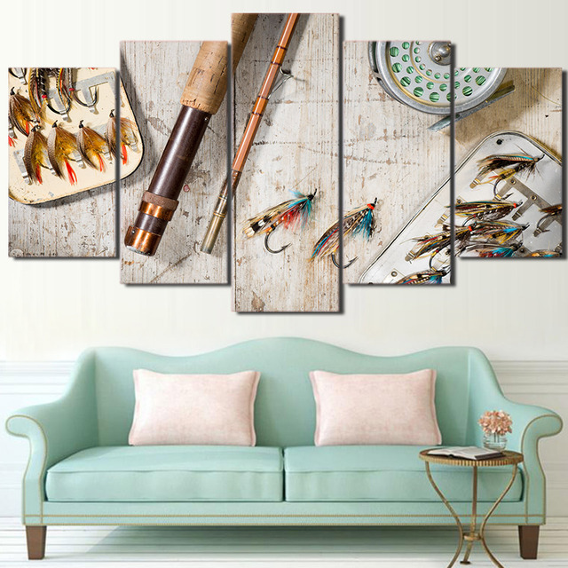 Canvas Painting Wall Art Prints Poster Home Decoration Framed 5 Panels Fishing Hooks Fashion Modular Pictures For Living Room