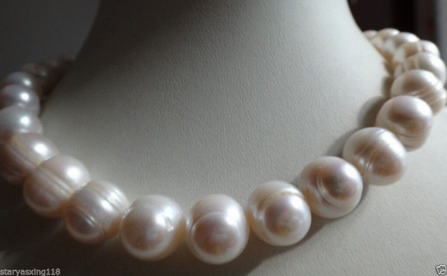 jewerly free shipping large 12-14 mm white baroque freshwater pearl necklace 18""