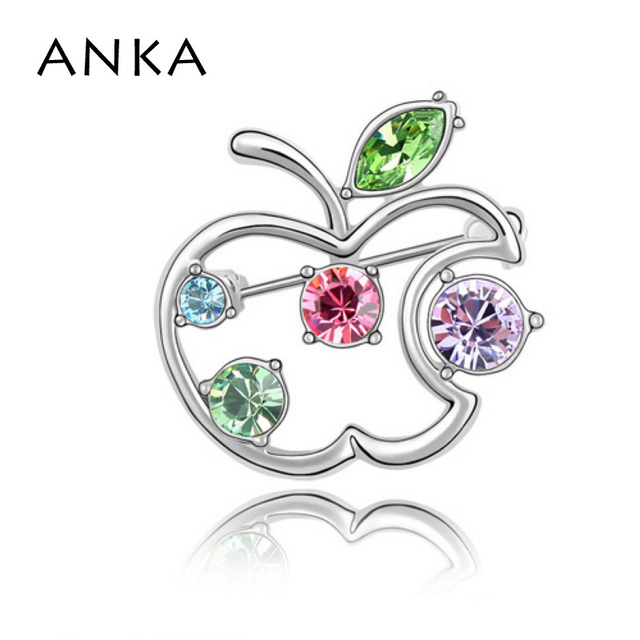 ANKA Real Hot Sale Apple Brooch Pin Crystal Jewelery Brooches Fine Jewelry Free Shipping High Quality For Christmas Gift #85167