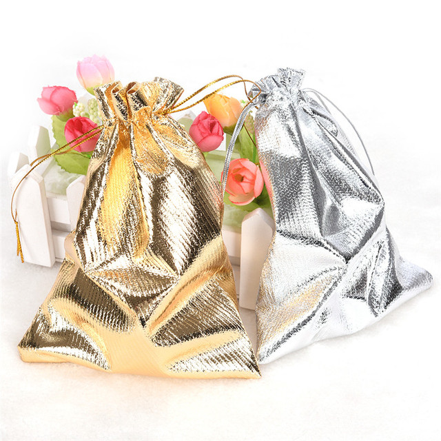 10pcs Adjustable Jewelry Packing Drawstring Silver/Gold Velvet bag Drawable Organza Pouch Christmas Wedding Gift Jewelry Bag