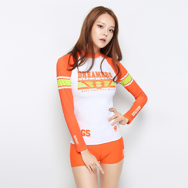 South Korea female body suit suit trousers long sleeved suit sunscreen and fast dry clothes wear conservative surf snorkeling je