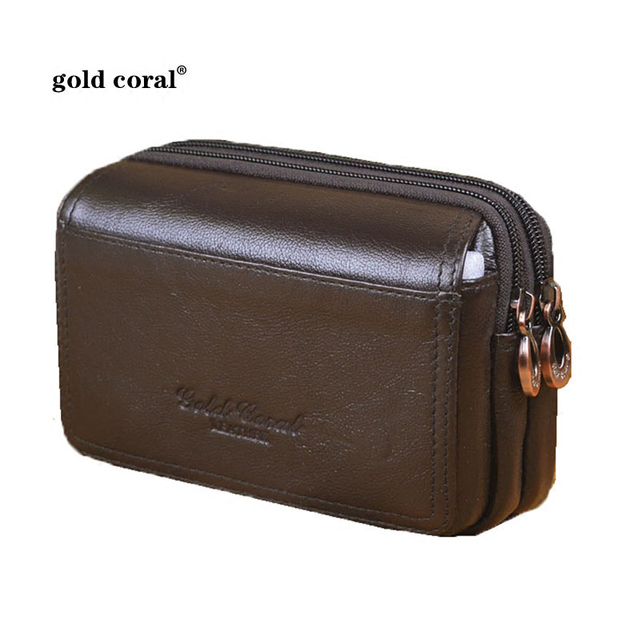 GOLD CORAL Genuine Leather Men Waist Belt Bags Small Flip Phone Case Casual Men's Phone Bags For Man Travel Waist Packs Male