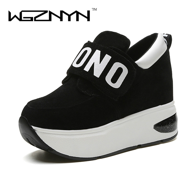 WGZNYN 2020 Autumn Platform Shoes Woman Slip on Casual Women Shoes Round Toe Flats Zapatillas Mujer Size 35-40