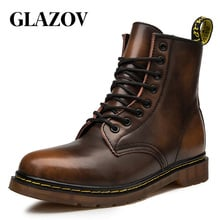 GLAZOV Hot Brand Men's Boots Genuine Leather Winter Autumn Shoes Motorcycle Mens Ankle Boot Couple Oxfords Shoes Big Size 35-46