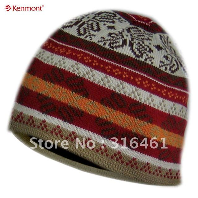 Promotional brand wool beanie hat, jacquard knit winter hat, KM 0626-03 Red hut