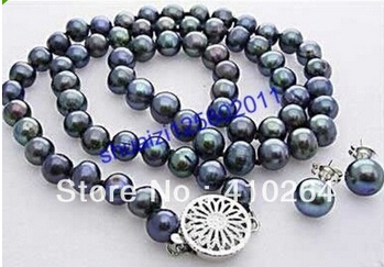 Free Shipping Charming 7-8MM Black Freshwater Pearl Necklace Earring set
