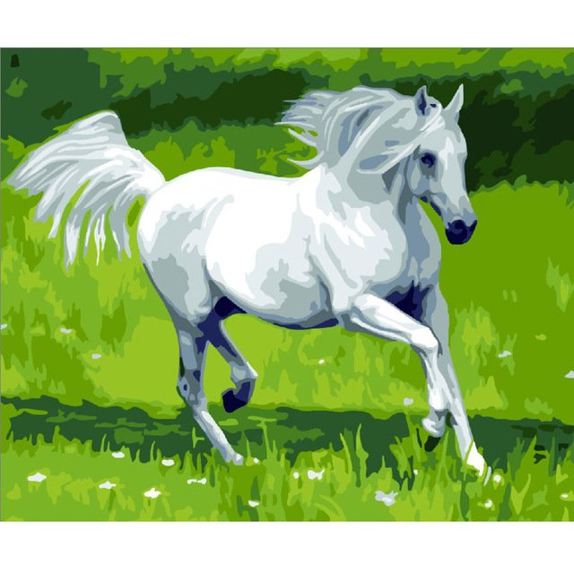 White horse picture On Wall Acrylic European Style DIY cabin Oil Painting Coloring By Number Canvas
