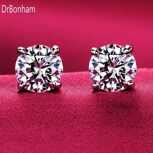 DrBonham silver color big CZ Zircon stud Earrings Brinco fashion women wedding jewelry size 8mm / 10mm
