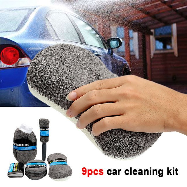 Vehemo Cars Car Cleaning Supplies Home Car Cleaning Kit Cleaning Towel Car Wash Kit for Polishing Sponge Washing Glove