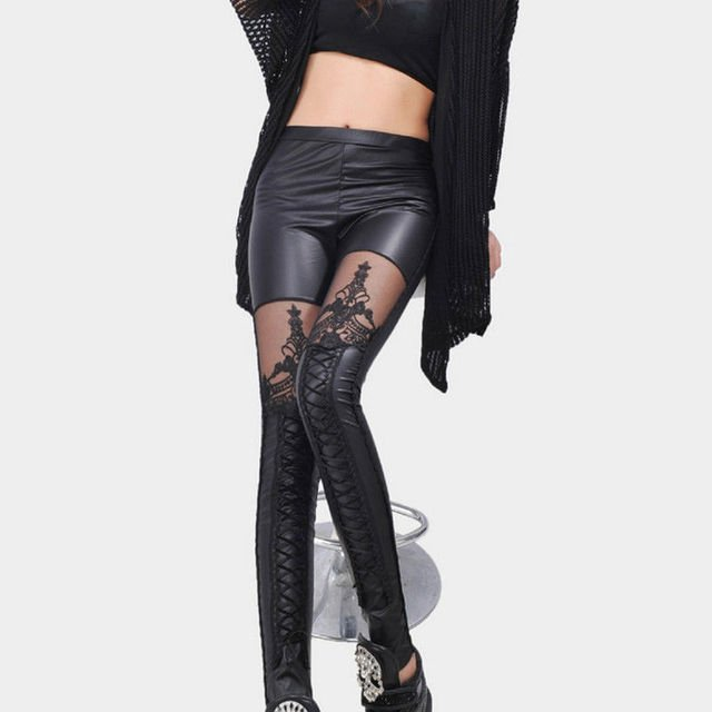 Fashion Sexy Women Ladies Black Faux Leather Leggings Wet Look Shiny Stretchy Leggings Lace Floral Black Fall Winter Leggings
