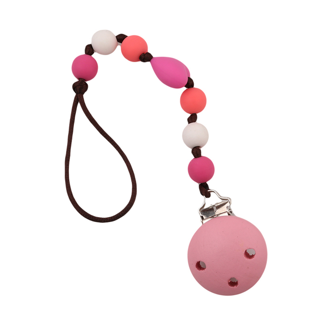 New Baby Pacifier Clip Pacifier Chain Hand Made Cute Colourful Beads Dummy Clip Baby Soother Holder For Baby Kids