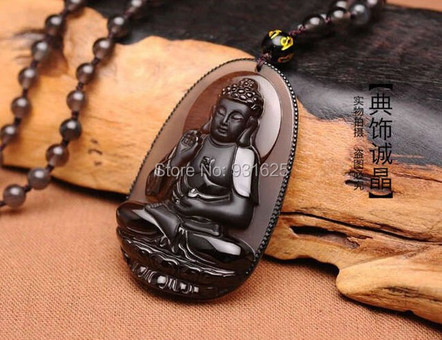 New Pretty Natural Ice Clear Obsidian Carved Buddha Amulet Lucky Blessing Pendant fashion semi-precious beaded Necklace Jewelry