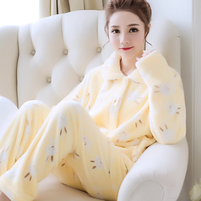 Long Sleeved Pant Women Pajama Sets Cartoon Animal Warm Coral Velvet Women's Suit Autumn Sleepwear Flannel Home Furnishing Serve