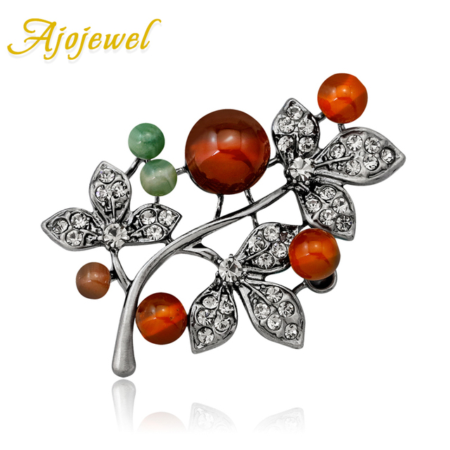 Ajojewel Colorful Natural Stone Plant Brooch Antique Jewelry Accessories Retro Rhinestone Brooch Pin Wholesale