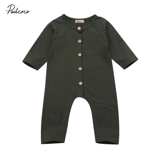 Toddler Baby Kids Boys Infant Romper Jumpsuit Long Sleeve Button Green One Piece Rompers Cotton Outfits Clothes