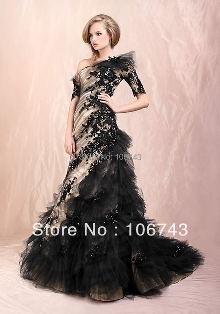 hot lace NEW design hot custom Short Sleeve One Shoulder Mermaid Quinceanera black Prom Formal Gown mother of the bride dresses