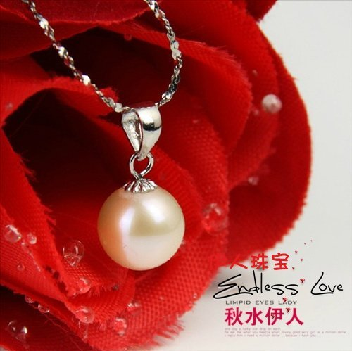 Hot Christmas Promotion!!! 9-10mm Perfect Round Pearl Pendant Necklace with 925 Silver Chain Yellow Pearl Color +Free Shipping