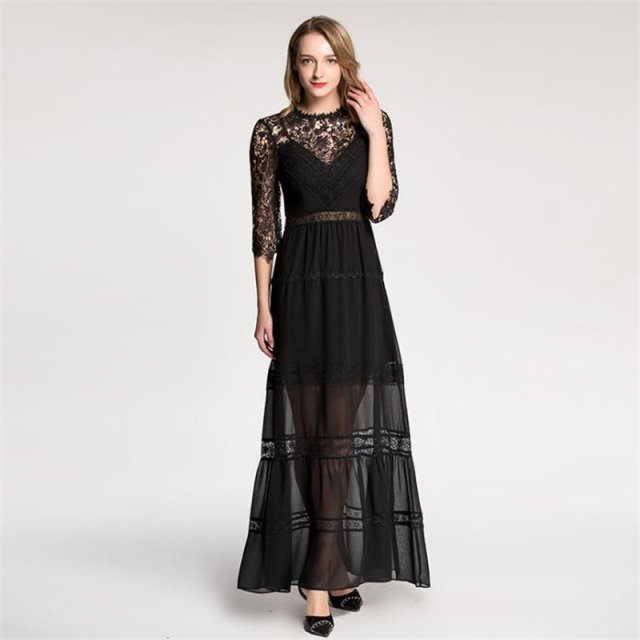 UNIQUEWHO Ladies Women Sexy Lace Dress Black Perspective Maxi Dress Slim Elegant Evening Party Dresses Spring Summer 2018 New