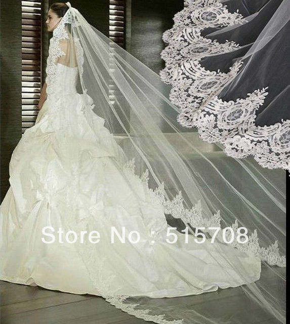 New 1T Cathedral White/ Ivory Elegant Lace Applique Edge Long Wedding Veil Accessories 3 Meter Long Free Shipping