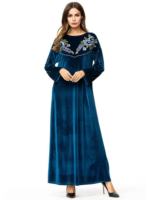2019 Autumn Islamic Dress Abaya Muslim Moroccan Kaftan Arabic Robe Musulmane Velvet Long Sleeve Turkish Caftan Dubai Arab 7262