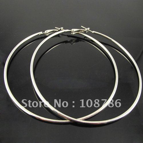 24pairs/lot free shipping 80mm Big Hoop Earrings. Fashion Circle Silver color Basketball Earrings