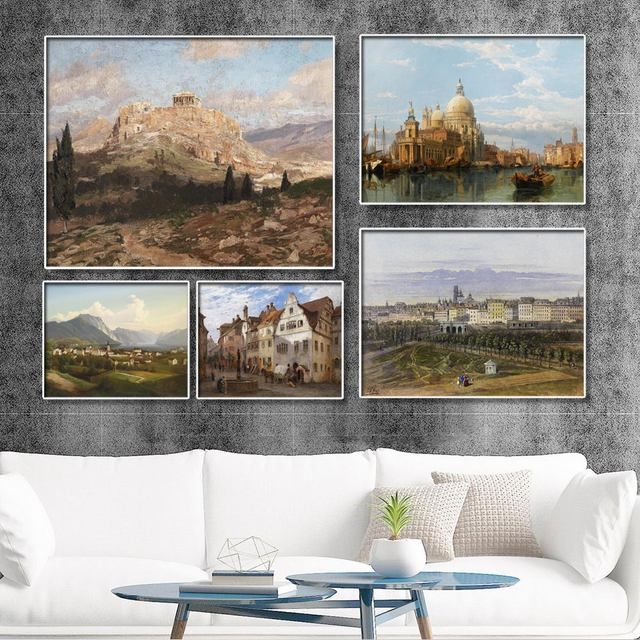 Home Decoration Print Canvas Wall Art Picture Paintings Horizontal Rectangle Water city sailing boat For Bedroom Living-room