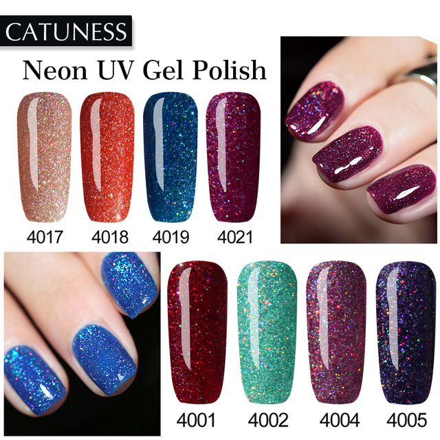 CATUNESS Lucky Newest Neon Nail Polish Soak Off UV Quality Semi Permanent Colorful Polish Nail Varnish Nail Magnet Uv Lamp Gel