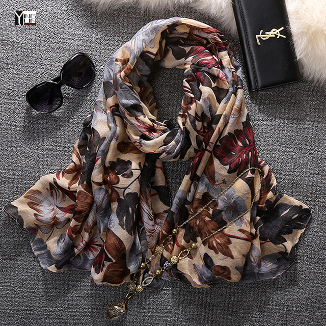 2017 new style fashion hot sale leaves print voile woman scarf long square sun protection shawl ladies women wrap  free shipping