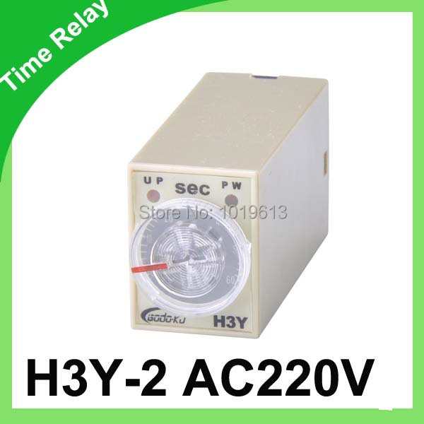 10pc/ lot AC 220V mini time relay Delay Time Relay 0~ 60 Second Timer H3Y-2