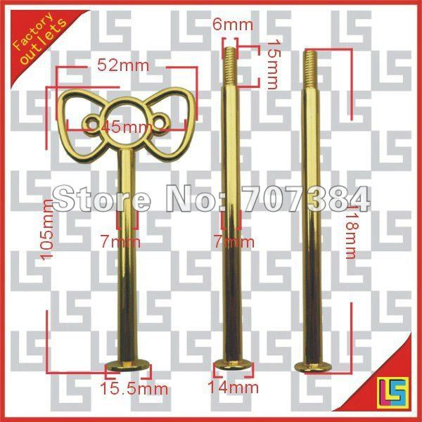 3-tier gold butterfly style cake stand rods /cake stand plate handles