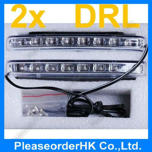 2x Car 8LED Daytime Running LED Light DRL Lamp Daylight Super White 12V E4 Safty