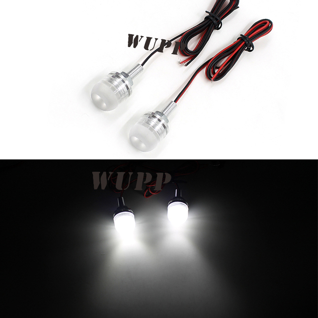 WUPP White 2Pcs Led Motorcycle Car License Plate Screw Bolt Light 12V Motorcycle Electric Bicycle License Plate Screw Lamp