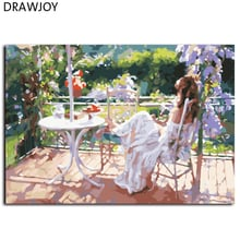 DRAWJOY Frameless Picture Painting By Numbers Beauty Lady DIY Canvas Oil Painting Home Decor For Living Room GX7187 40*50cm