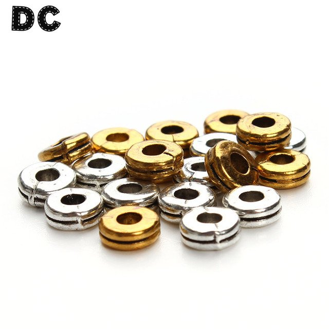 DC 100pcs/lot Antique Silver Gold Color Flat Tiny Ring Spacers Beads Dia 6mm fit Necklace Bracelet DIY Jewelry Making